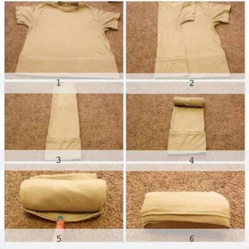 Складывание футболки рулоном