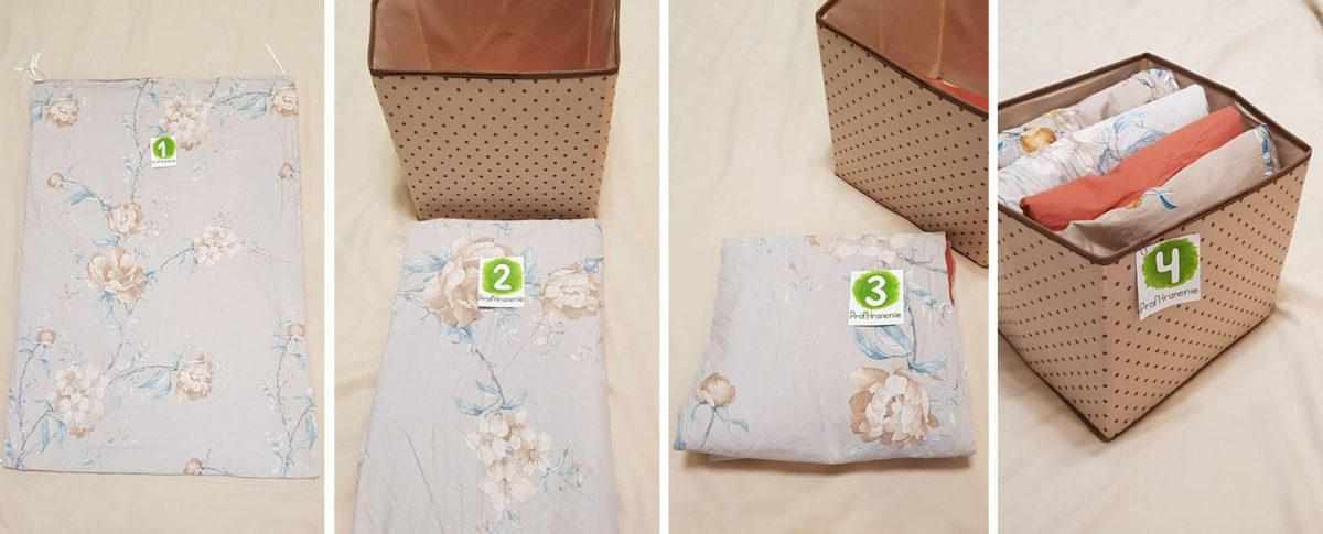 Вертикальный способ хранения постельного белья