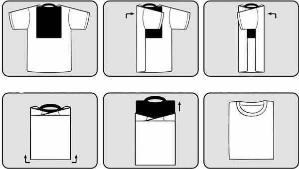 Складывание футболки фабричным методом