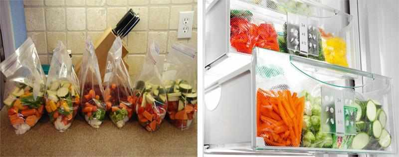 Овощи и фрукты в морозилке