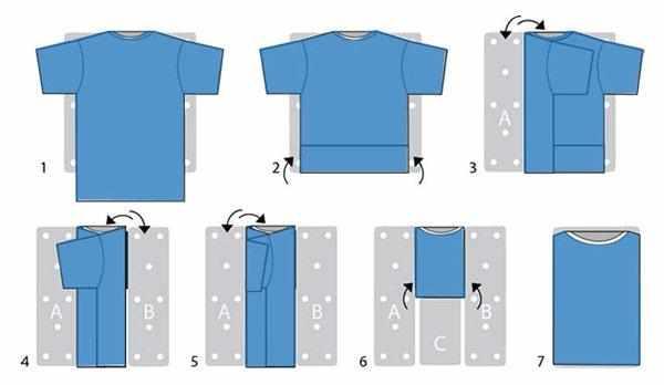 Складывание футболки конвертом