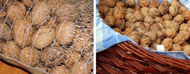 Орехи в мешке и корзине