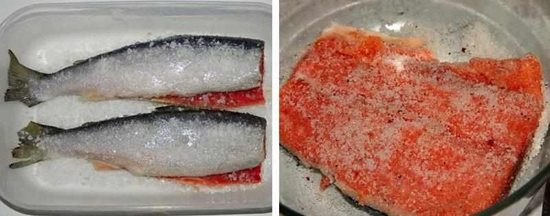 Солёная красная рыба
