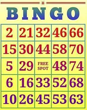 пример карточки bingo