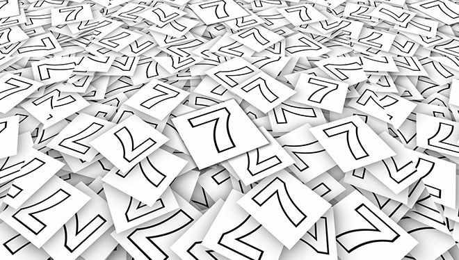 цифра 7 на листках