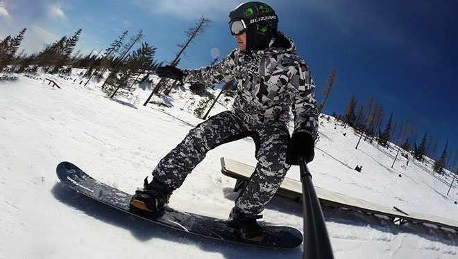 на сноуборде с гоу про камерой